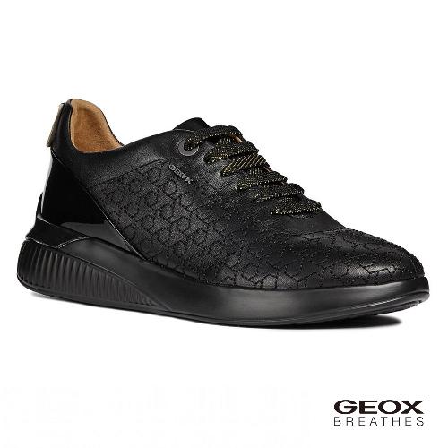 GEOX - D THERAGON C 義大利透氣鞋 休閒運動鞋 漆皮 黑色(D828SC0BCHI9999)