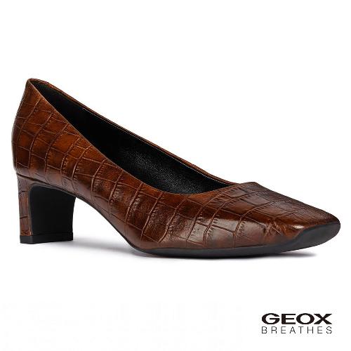 GEOX - D VIVYANNE M. A  義大利透氣鞋 跟鞋 鱷魚紋牛皮 咖啡色(D84BAA0006Y0013)