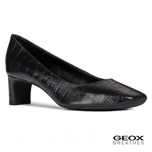 GEOX - D VIVYANNE M. A  義大利透氣鞋 跟鞋 鱷魚紋牛皮 黑色(D84BAA0006Y9999)