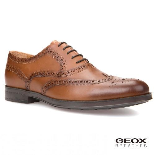 GEOX - U HILSTONE 2FIT B 紳士鞋 皮鞋 牛皮 咖啡色(U824PB000436001)