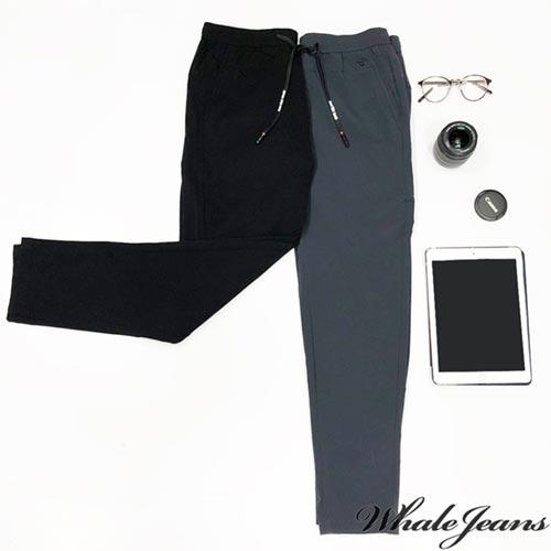 男款韓系窄管褲 修長綁帶素色-2色
