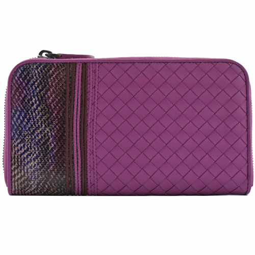 BOTTEGA VENETA  Nappa編織皮革拼接拉鍊長夾.紫