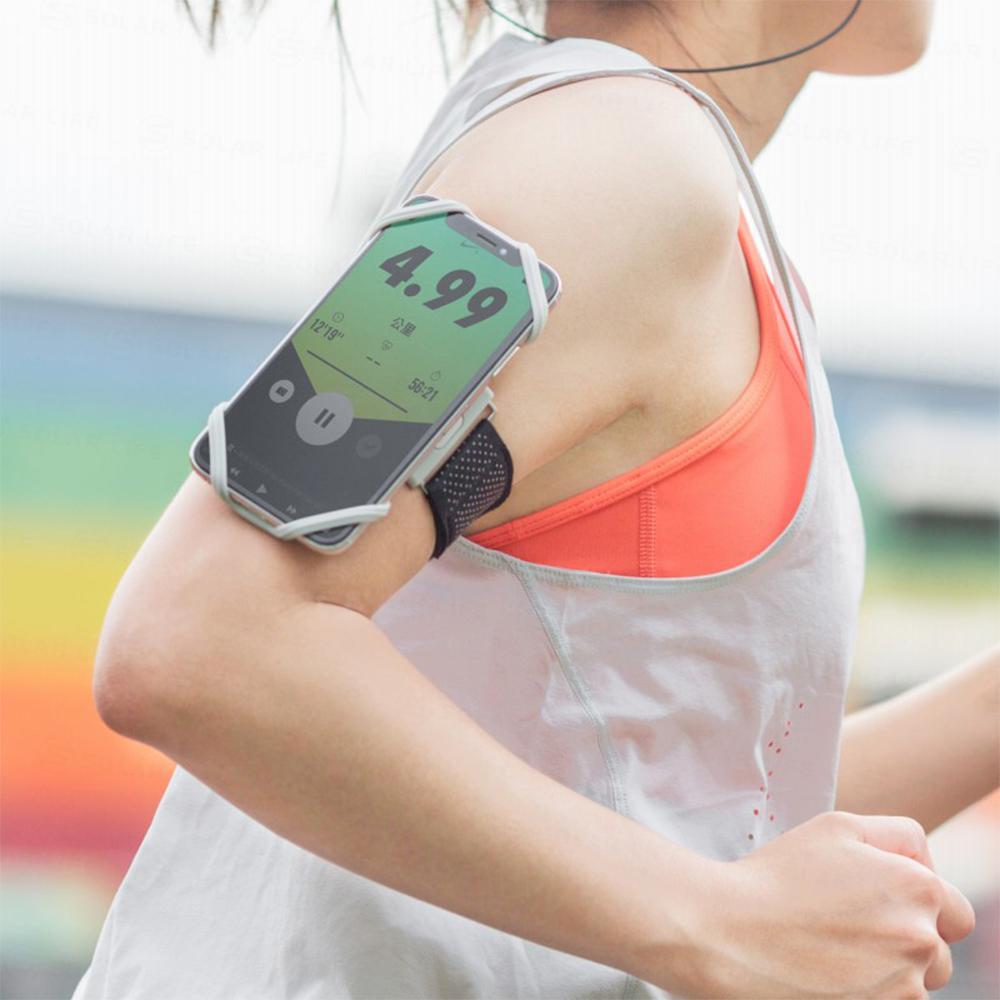 【索樂生活】Run Tie 跑步手機綁 - 彈性矽膠綁繩運動臂套適用4~6.5吋螢幕.戶外騎車休閒散熱排汗親膚手機臂帶