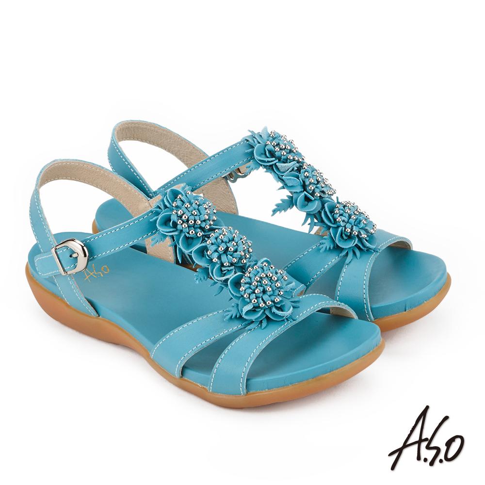 A.S.O 希臘渡假 全真皮牛皮立體花卉休閒涼鞋(藍色)