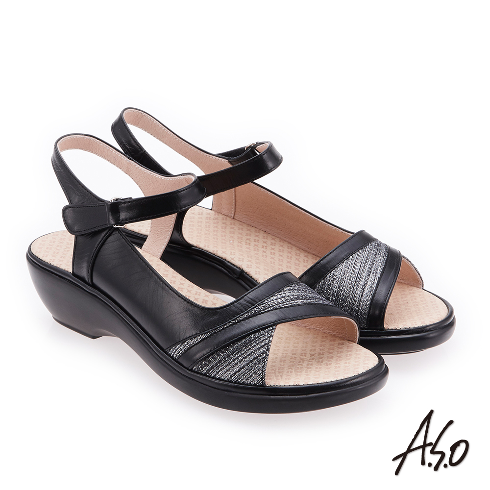A.S.O 挺麗氣墊 沖孔拼接T型全真皮氣墊楔型涼鞋(黑色)