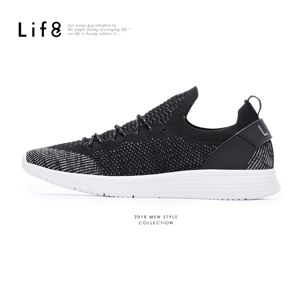 【Life8】Sport 飛織布 輕量 簡約時尚運動鞋-09883-黑色