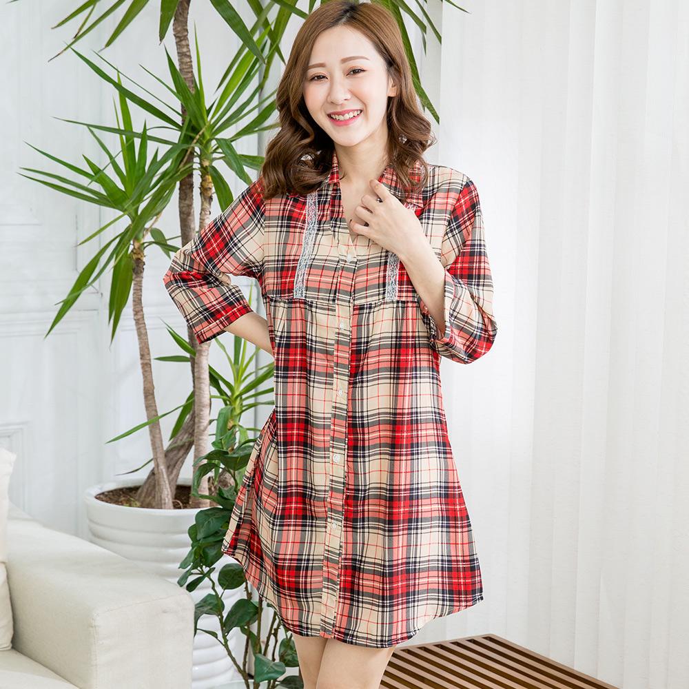 【Wonderland】氣質格紋長版大襯衫(紅格)