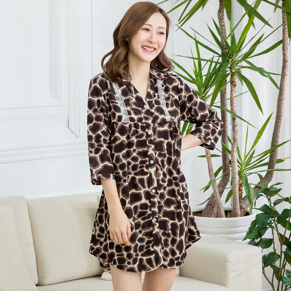 【Wonderland】迷濛深情-情侶款-豹紋長版大襯衫-女(黑褐)
