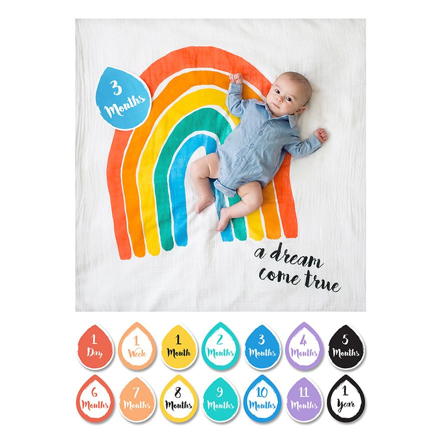 加拿大lulujo寶寶成長包巾卡片組-彩虹