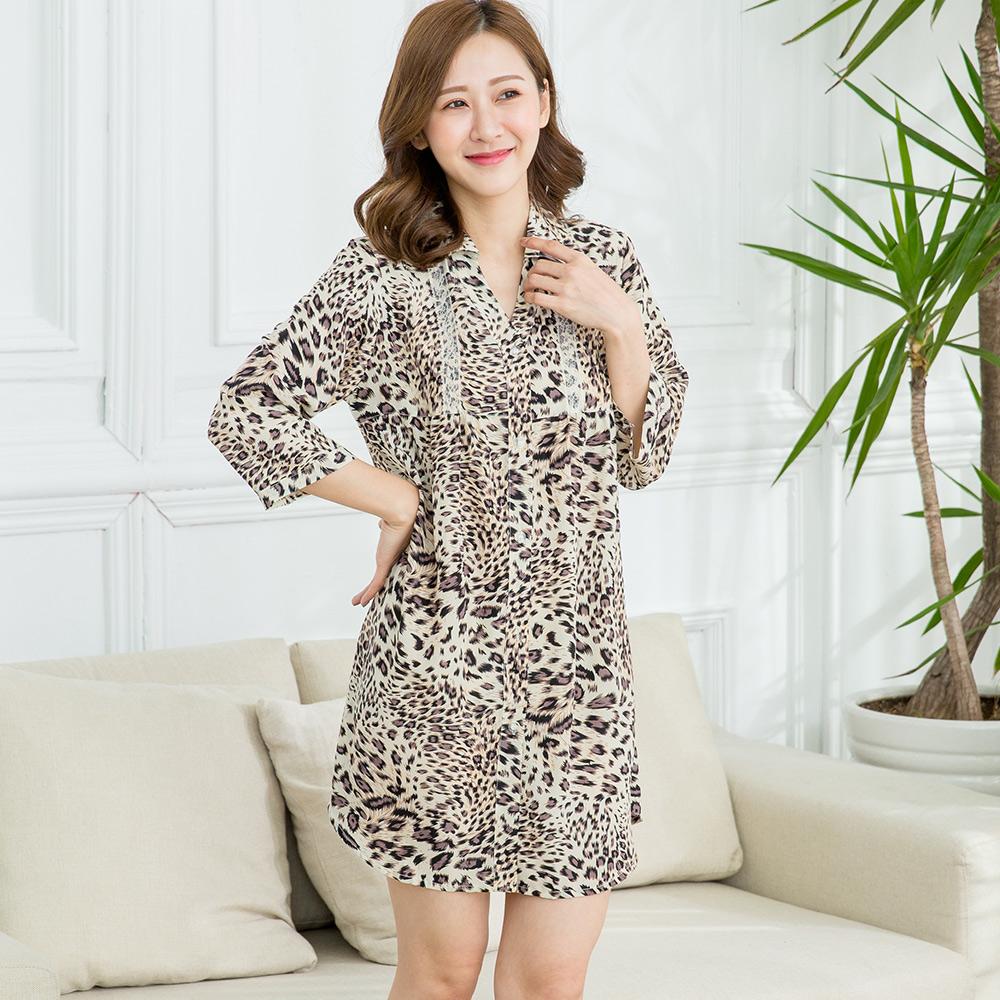 【Wonderland】豹紋美人緞面雪紡紗長版大襯衫