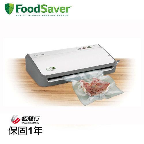 (福利品)美國FoodSaver-家用真空包裝機FM2110P 送夾鍊袋轉接頭組+11吋真空卷X2