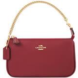 COACH 金屬光澤皮革鍊帶手提包-酒紅色