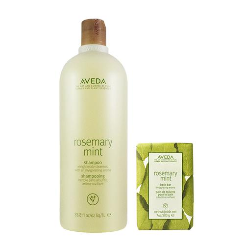 AVEDA 迷迭/薄荷洗髮精1000ml+迷迭/薄荷沐浴皂200g