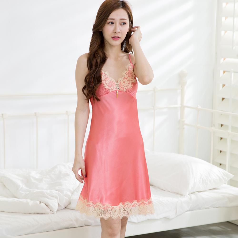 【Wonderland】完美情人冰絲睡衣冰絲睡衣洋裝(橘色)