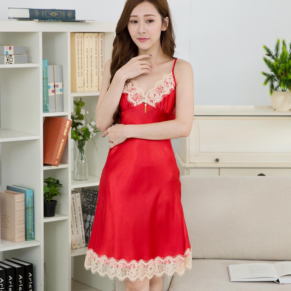 【Wonderland】完美情人冰絲睡衣冰絲睡衣洋裝(紅色)