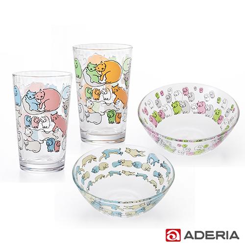 日本ADERIA 貓咪玻璃杯碗4件組