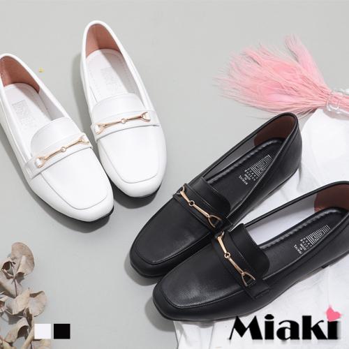 【Miaki】樂福鞋.學院風低跟紳士包鞋 ( 白色 / 黑色 )