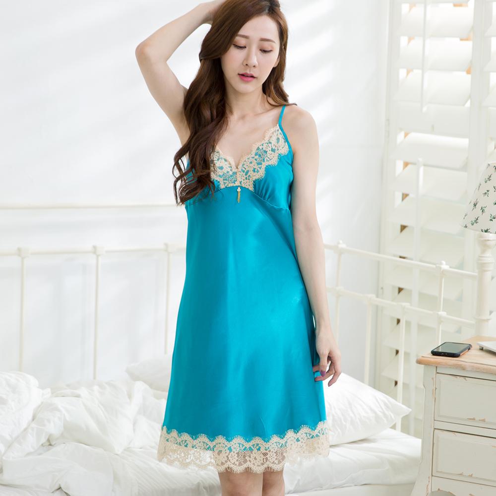 【Wonderland】完美情人冰絲睡衣冰絲睡衣洋裝(藍)