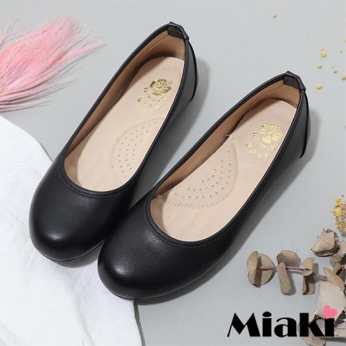 【Miaki】豆豆鞋.OL通勤平底圓頭包鞋 (黑色)