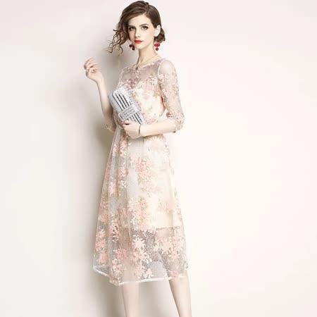 Olivia奧莉精品 蕾絲碎花透膚洋裝