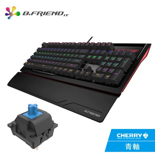 B.FRIEND MK1R CHERRY軸(青軸)多彩發光機械鍵盤(附專用保護膜)