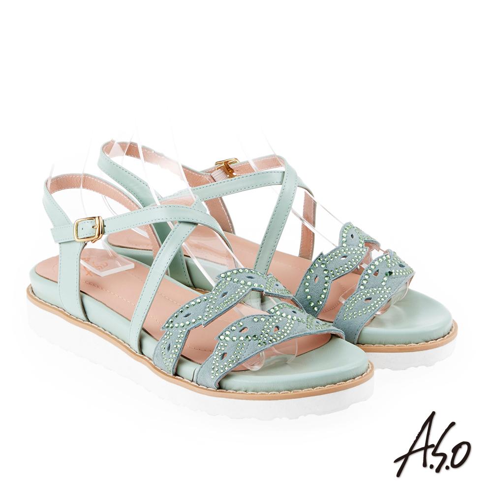 A.S.O 炫麗魅惑 亮麗璀璨平底涼拖鞋(淺綠)