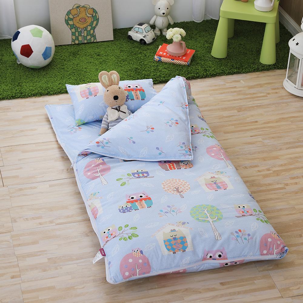 IN HOUSE-Owl-city(藍)-200織紗精梳棉-兒童睡袋