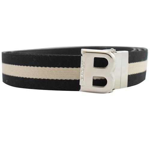 BALLY 黑白織帶雙面B扣環皮帶.黑白/黑 2款