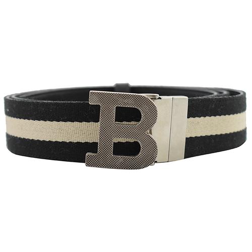 BALLY 黑白織帶雙面B扣環皮帶.黑白/黑 115CM/46吋