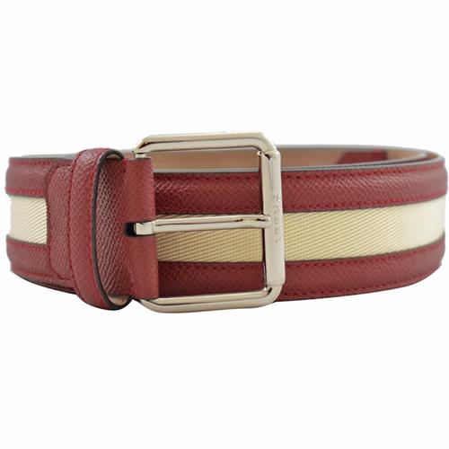 BALLY 經典 LOGO 紅白皮革織帶皮帶.紅白 2款