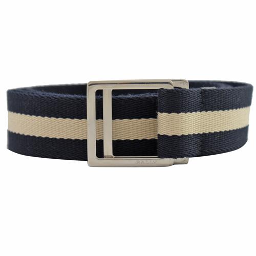 BALLY 經典黑白織帶雙扣環皮帶.深藍/白 110CM/44吋