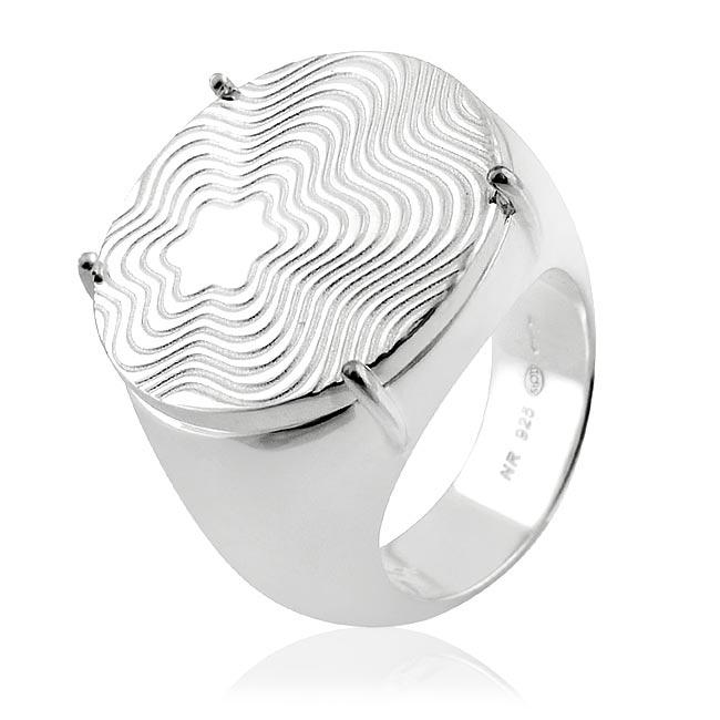 MONT BLANC 萬寶龍 六角星圓形寬版純銀戒指-56號