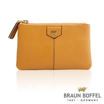 【BRAUN BUFFEL】德國小金牛 蕾絲莉系列雙層零錢包(深桔黃)BF608-721-SUN
