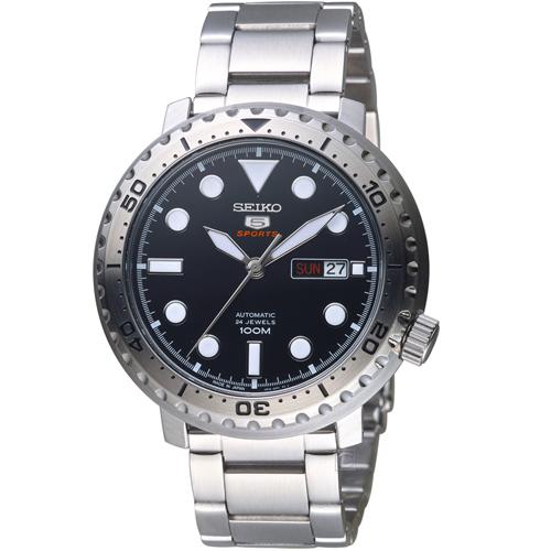 SEIKO精工5號復刻時尚機械腕錶 4R36-06N0D SPRC61J1 黑x銀