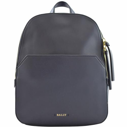 BALLY 新款素面牛皮雙拉鍊後背包.深藍
