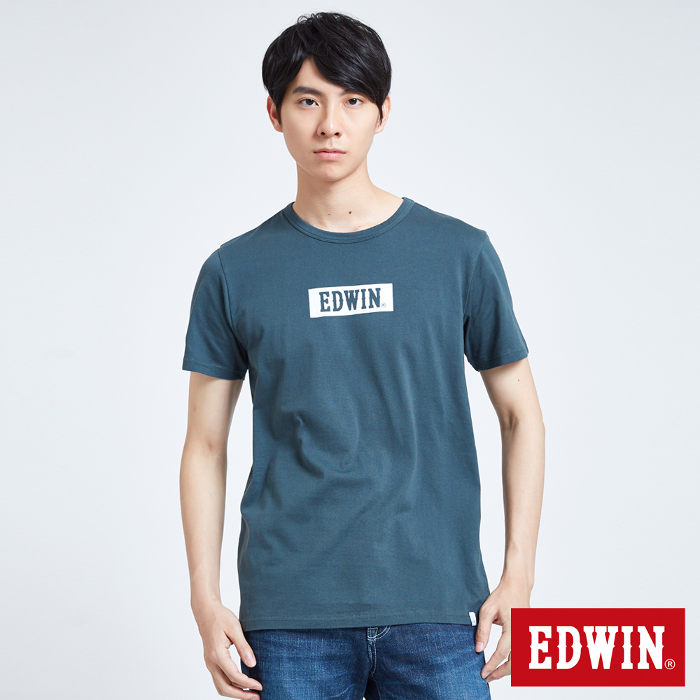 EDWIN BOX LOGO短袖T恤-男-橄欖綠
