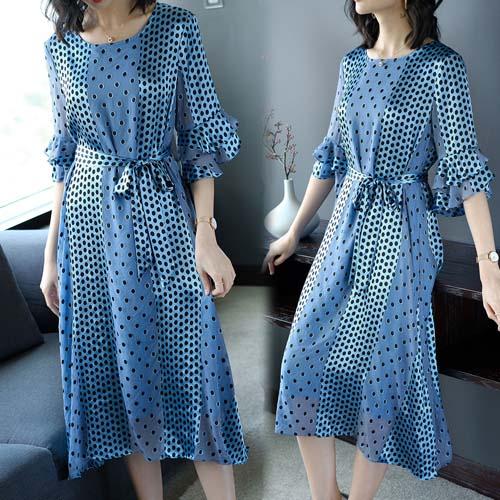 【韓國KW】(預購) L-2XL 桑蠶絲點點璀璨洋裝