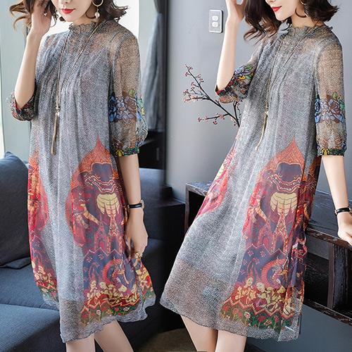 【歐風KEITH-WILL】(預購) L-2XL  花間秘境絲質洋裝
