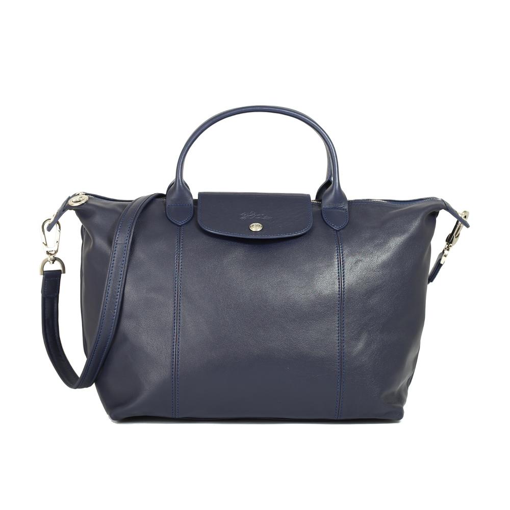 Longchamp Le Pliage Cuir 小羊皮短柄大型手提斜背包(海軍藍)