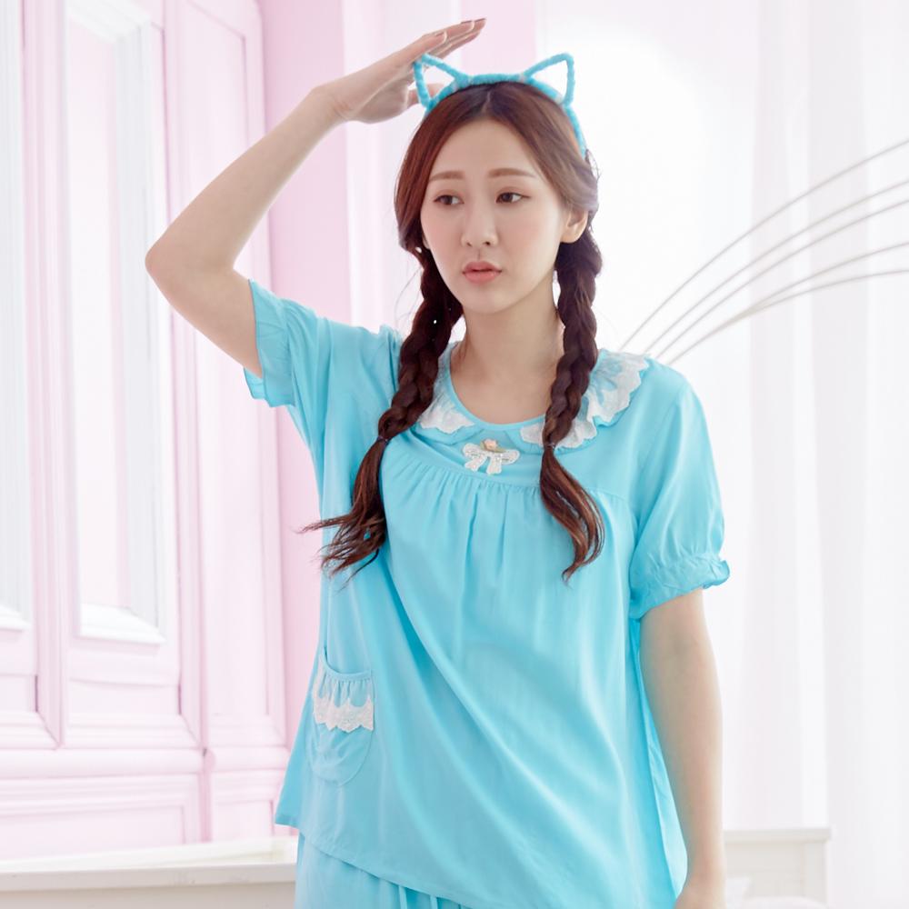 【Wonderland】春漾唯美嫘縈居家休閒衣褲組(藍)(XL)