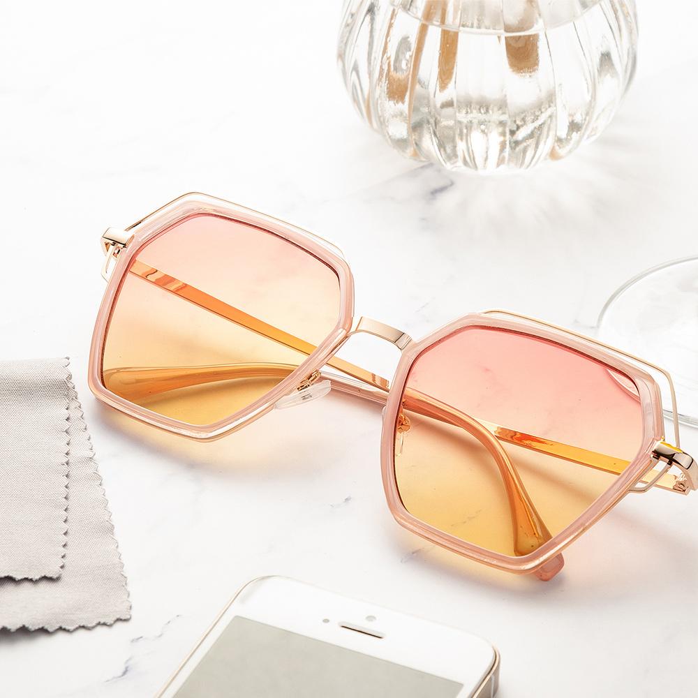 【尚佰家】寶麗萊鏡片 抗UV女太陽眼鏡-粉色框