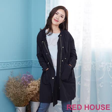 Red House 蕾赫斯-長版防風外套(黑色)