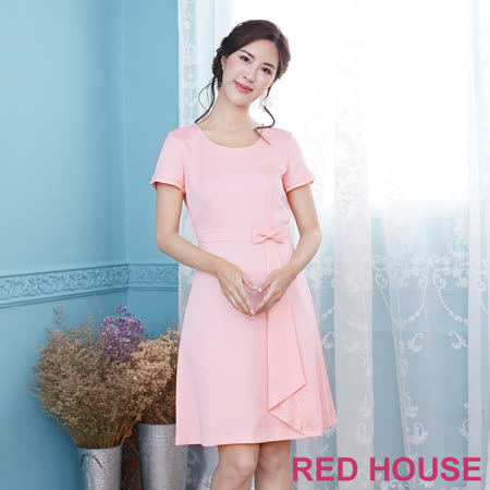 Red House 素色蝴蝶結洋裝