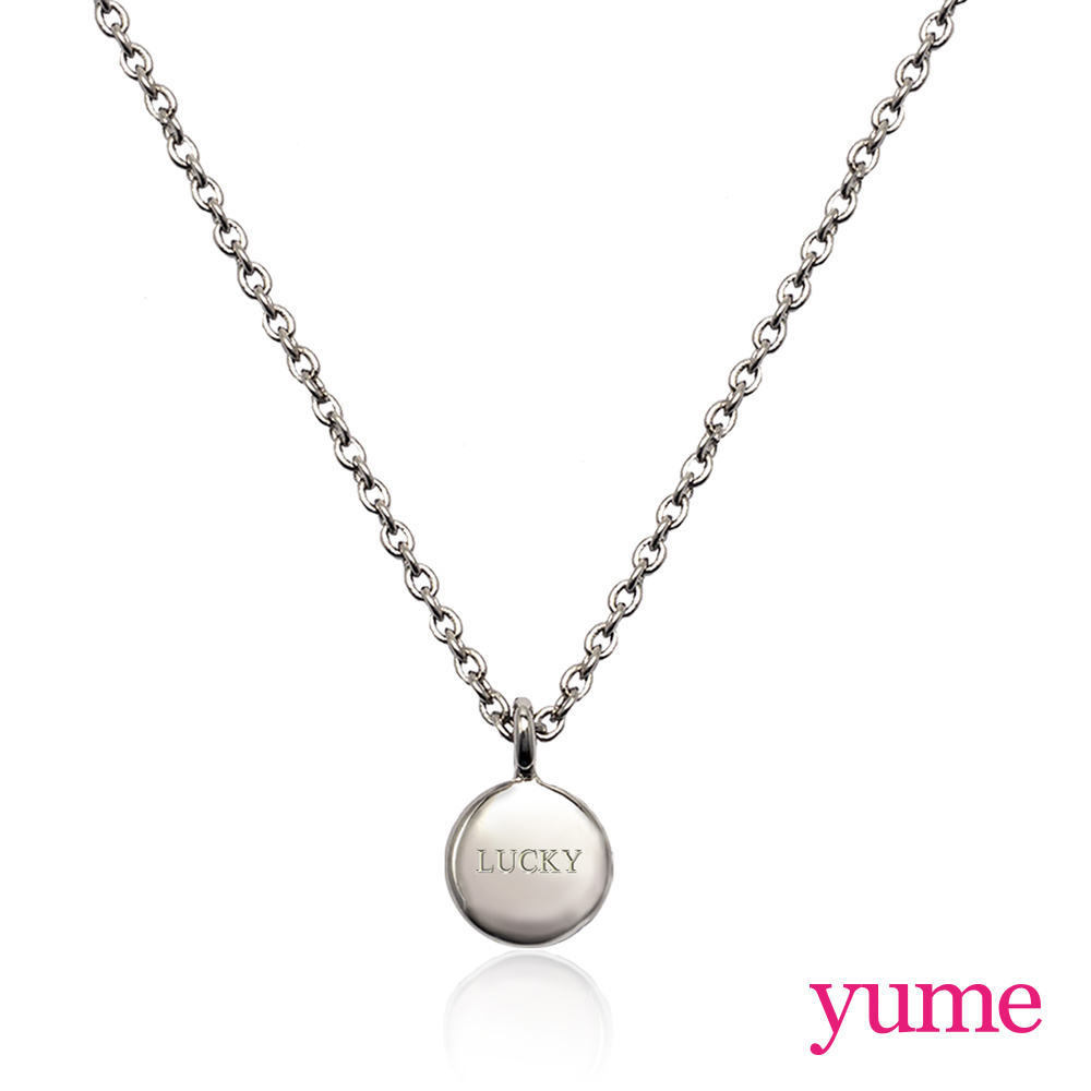【YUME】Girls 閨蜜系列 - 祈願小圓牌項鍊(白K金)