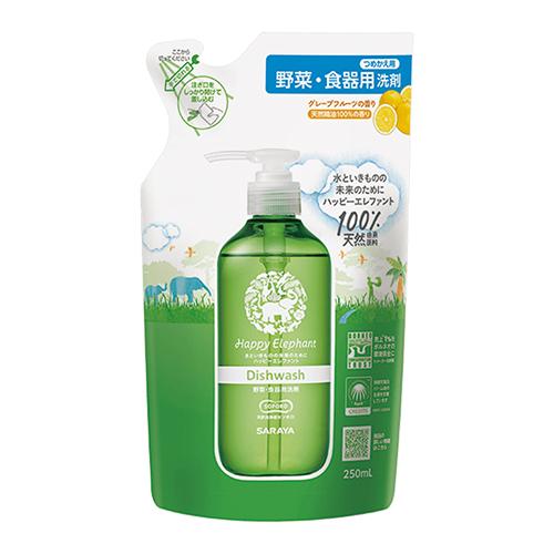 買一送一【日本SARAYA】Happy Elephant 無添加蔬果餐盤洗碗精補充包250ml-柚香