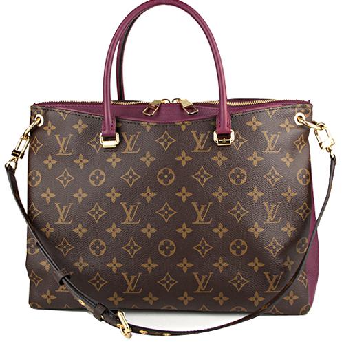 Louis Vuitton LV M42810 PALLAS 經典花紋皮飾邊手提兩用包.葡萄紫_預購