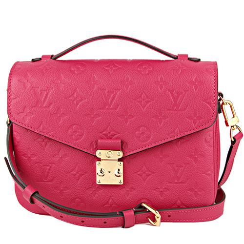 Louis Vuitton LV M44291 Pochette Métis 經典花紋皮革壓紋手提兩用包 桃紅_預購