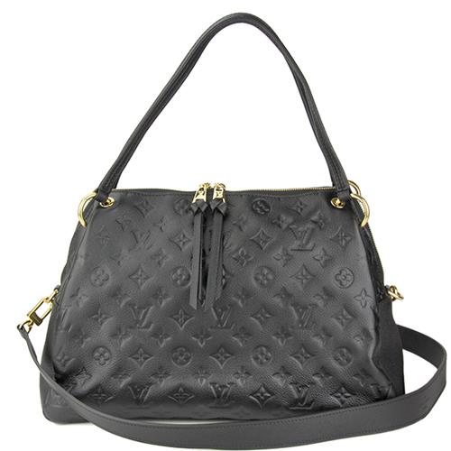 Louis Vuitton LV M43719 PONTHIEU PM 經典花紋皮革壓紋手提兩用包.黑_預購