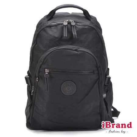 iBrand後背包 簡約素色超輕盈尼龍口袋後背包-都會黑
