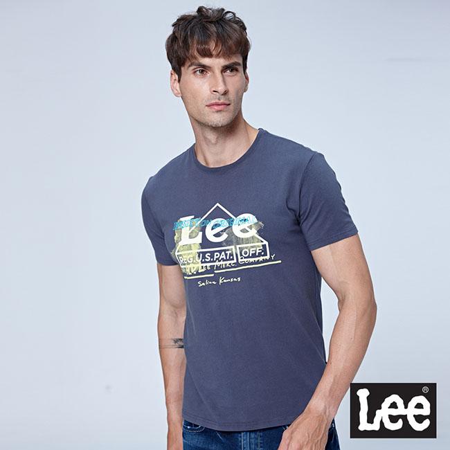Lee 大三角LEE LOGO短袖圓領Tee-墨灰